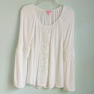 LILLY PULITZER | Peasant Lace Panel Blouse Sz. Sm
